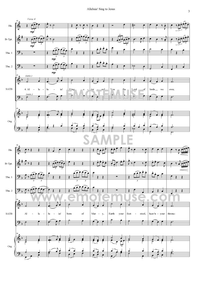 Alleluia! Sing to Jesus (SATB, brass, and organ)